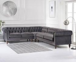 Mark Harris Lauren Grey Velvet Corner Sofa
