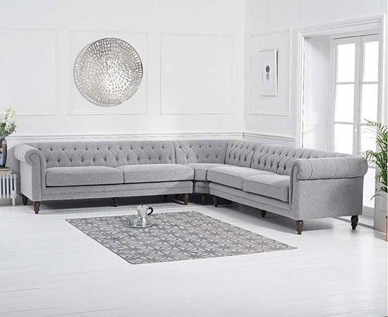 Mark Harris Lauren Grey Linen 2+2 Corner Sofa