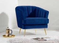 Mark Harris Lucinda Blue Velvet Armchair