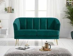 Mark Harris Lucinda Green Velvet 2 Seater Sofa