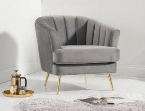 Mark Harris Lucinda Grey Velvet Armchair