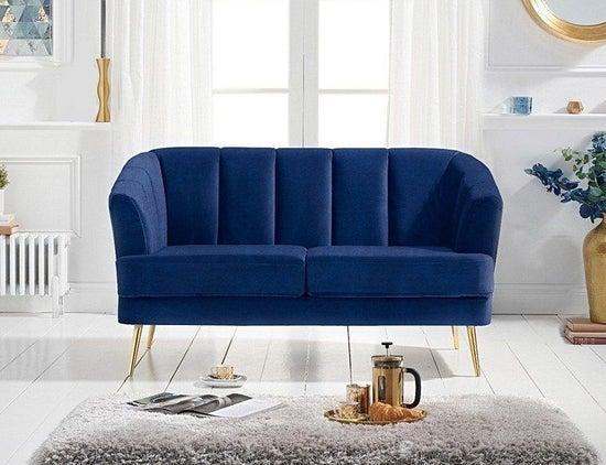 Mark Harris Lucinda Blue Velvet 2 Seater Sofa