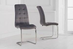 Mark Harris Lucy Hoop Leg Grey Velvet Fabric Dining Chair (Pair)