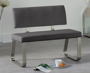 Mark Harris Malibu Grey Faux Leather Small Bench with Back