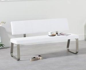 Mark Harris Malibu White Faux Leather Large Bench with Back