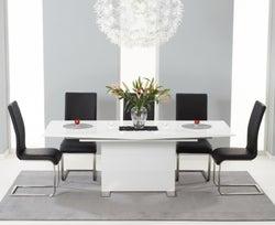 Mark Harris Marila White High Gloss Extending Dining Table and 6 Malibu Black Chairs