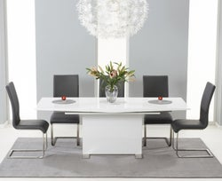 Mark Harris Marila White High Gloss Extending Dining Table and 6 Malibu Grey Chairs