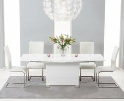 Mark Harris Marila White High Gloss Extending Dining Table and 6 Malibu Chairs