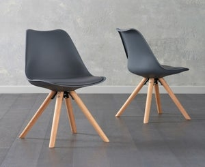 Mark Harris Olivier Dark Grey Faux Leather Dining Chair with Round Legs (Pair)