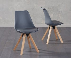Mark Harris Olivier Dark Grey Faux Leather Dining Chair with Square Legs (Pair)
