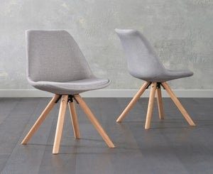 Mark Harris Olivier Light Grey Fabric Dining Chair with Round Legs (Pair)