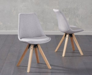 Mark Harris Olivier Light Grey Fabric Dining Chair with Square Legs (Pair)