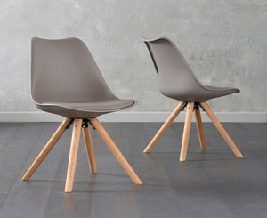 Mark Harris Olivier Taupe Faux Leather Dining Chair with Round Legs (Pair)
