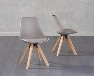 Mark Harris Olivier Taupe Faux Leather Dining Chair with Square Legs (Pair)