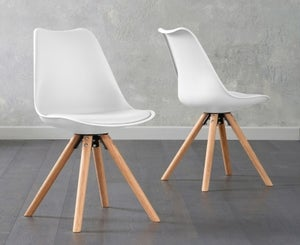 Mark Harris Olivier White Faux Leather Dining Chair with Round Legs (Pair)
