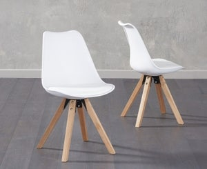 Mark Harris Olivier White Faux Leather Dining Chair with Square Legs (Pair)