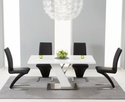 Mark Harris Portland White High Gloss Dining Table and 4 Hereford Black Chairs