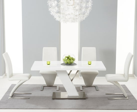 Mark Harris Portland White High Gloss Dining Table and 4 Hereford White Chairs