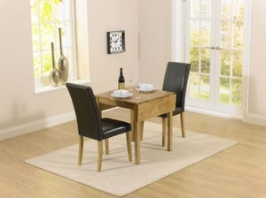 Mark Harris Promo Oak Square Drop Leaf Extending Dining Table and 2 Atlanta Brown Faux Leather Chairs