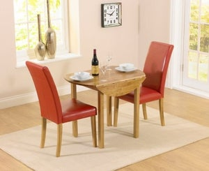 Mark Harris Promo Oak Round Drop Leaf Extending Dining Table and 2 Atlanta Red Faux Leather Chairs