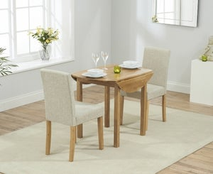 Mark Harris Promo Oak Round Drop Leaf Extending Dining Table and 2 Maiya Cream Chairs