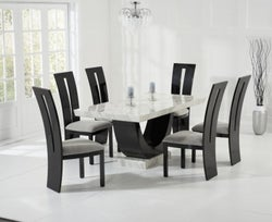 Mark Harris Rivilino Cream and Black Marble Dining Table and 4 Valencie Chairs