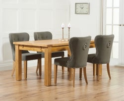 Mark Harris Rustique Oak Large Extending Dining Table and 4 Kalim Grey Chairs