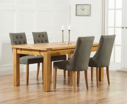 Mark Harris Rustique Oak Large Extending Dining Table and 4 Pailin Grey Chairs