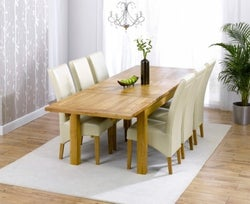 Mark Harris Rustique Oak Large Extending Dining Table and 4 Roma Cream Chairs