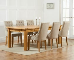 Mark Harris Rustique Oak Extra Large Extending Dining Table and 6 Pailin Beige Chairs
