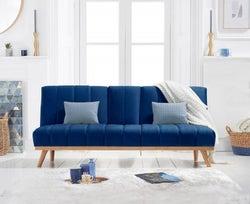 Mark Harris Saffron Blue Velvet 3 Seater Fold Down Sofa Bed