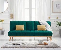Mark Harris Saffron Green Velvet 3 Seater Fold Down Sofa Bed