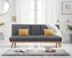 Mark Harris Saffron Grey Linen 3 Seater Fold Down Sofa Bed