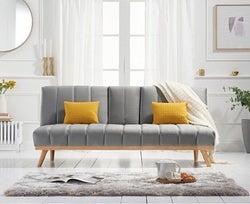 Mark Harris Saffron Grey Velvet 3 Seater Fold Down Sofa Bed