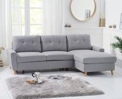 Mark Harris Carlotta Grey Linen Fabric Right Facing Corner Chaise Sofa