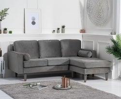 Mark Harris Liam Grey Velvet 3 Seater Reversible Chaise Sofa