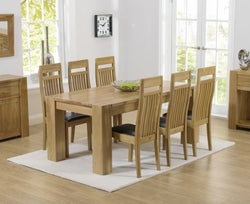 Mark Harris Tampa Oak Medium Dining Table and 4 Monte Carlo Black Chairs