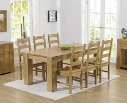 Mark Harris Tampa Oak Medium Dining Table and 4 Valencia Timber Seat Chairs