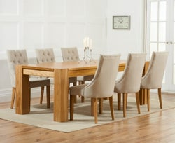 Mark Harris Tampa Oak Large Dining Table and 4 Pailin Beige Chairs