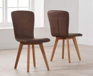 Mark Harris Tribeca Brown Faux Leather Dining Chair (Pair)