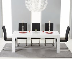 Mark Harris Venice White High Gloss Extending Dining Table and 6 Malibu Black Chairs