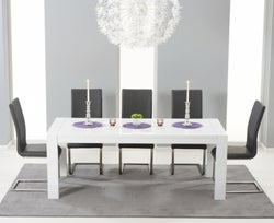 Mark Harris Venice White High Gloss Extending Dining Table and 6 Malibu Grey Chairs