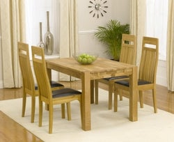 Mark Harris Verona Oak Small Extending Dining Table and 4 Monte Carlo Brown Chairs
