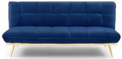 Mark Harris Yasmina Blue Velvet 3 Seater Fold Down Sofa Bed
