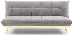 Mark Harris Yasmina Grey Velvet 3 Seater Fold Down Sofa Bed
