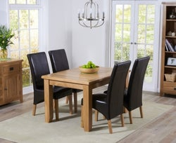 Mark Harris York Oak Extending Dining Table and 4 Roma Brown Chairs