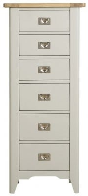 Mark Webster Bordeaux 6 Drawer Tall Chest - Oak and Grey