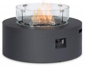 Maze Rattan Lounge Charcoal Round Gas Fire Pit