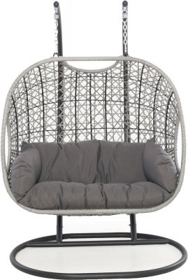 Maze Rattan Ascot Swing Hanging Double Chair with Weatherproof Cushions