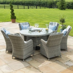Maze Rattan Oxford Venice 6 Seat Round Dining Set with Ice Bucket and Lazy Susan